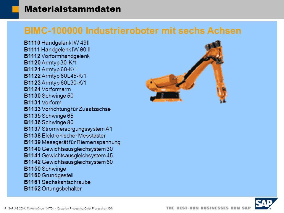  SAP AG 2004, Make-to-Order (MTO) – Quotation Processing/Order Processing (J66) Materialstammdaten BIMC-100000 Industrieroboter mit sechs Achsen B111