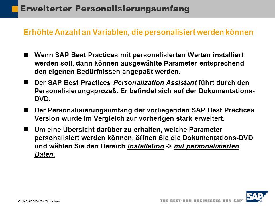  SAP AG 2006, TW What's New Verbesserte Personalisierungsmöglichkeiten Personalisierung der Ablaufbeschreibungen Bei personalisierter Installation trägt der Personalization Assistant Sorge, daß alle personalisierten Werte zur Systemkonfiguration korrekt bereit gestellt werden (z.B.