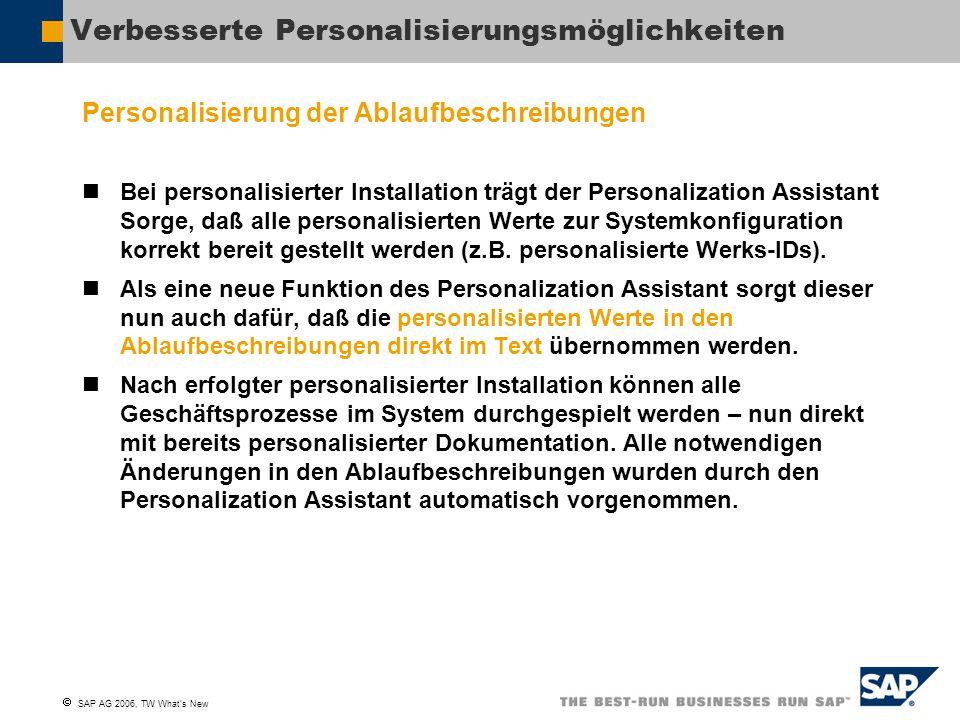  SAP AG 2006, TW What's New Neue Dokumentation Installation Assistant Benutzerleitfaden Der SAP Best Practices Installation Assistant (BPIA) ist ein Werkzeug, das die Installation von SAP Best Practices erleichert.