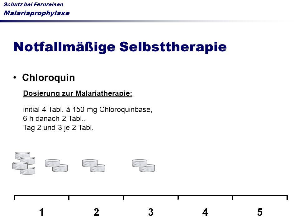Schutz bei Fernreisen Malariaprophylaxe Notfallmäßige Selbsttherapie Chloroquin Dosierung zur Malariatherapie: initial 4 Tabl. à 150 mg Chloroquinbase