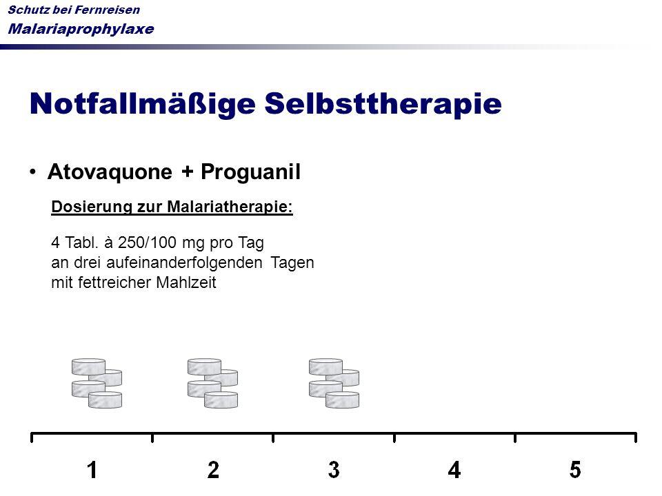 Schutz bei Fernreisen Malariaprophylaxe Notfallmäßige Selbsttherapie Atovaquone + Proguanil Dosierung zur Malariatherapie: 4 Tabl. à 250/100 mg pro Ta