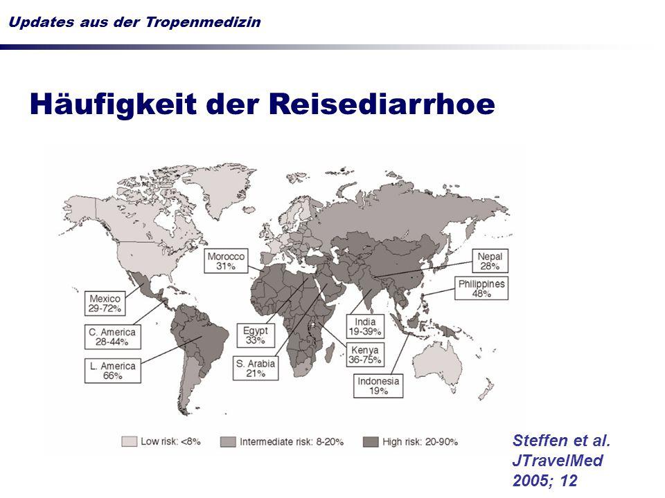 Ätiologie der Reisediarrhoe überwiegend infektiologisches Problem Erregerspektrum (Auswahl!) in ~ 40 % kein Erregernachweis Sonnenburg et al., 2000 Steffen et al.
