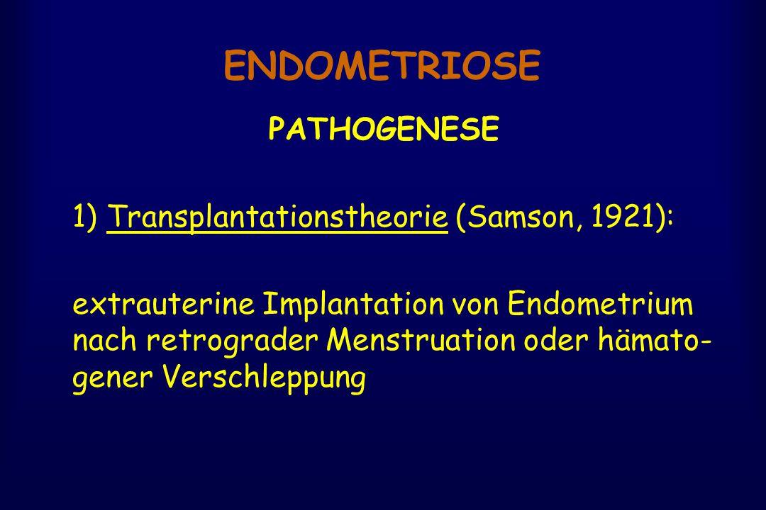 ENDOMETRIOSE PATHOGENESE 1) Transplantationstheorie (Samson, 1921): extrauterine Implantation von Endometrium nach retrograder Menstruation oder hämato- gener Verschleppung