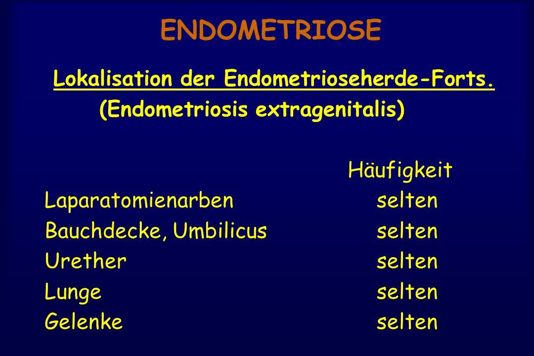 ENDOMETRIOSE Lokalisation der Endometrioseherde-Forts. (Endometriosis extragenitalis) Häufigkeit Laparatomienarbenselten Bauchdecke, Umbilicusselten U
