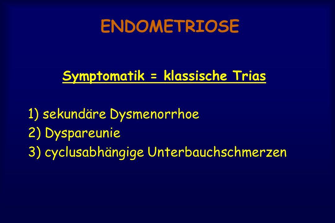 ENDOMETRIOSE Symptomatik = klassische Trias 1) sekundäre Dysmenorrhoe 2) Dyspareunie 3) cyclusabhängige Unterbauchschmerzen