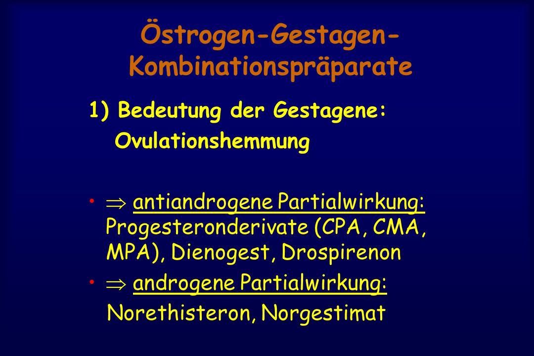 Östrogen-Gestagen- Kombinationspräparate 1) Bedeutung der Gestagene: Ovulationshemmung  antiandrogene Partialwirkung: Progesteronderivate (CPA, CMA, MPA), Dienogest, Drospirenon  androgene Partialwirkung: Norethisteron, Norgestimat