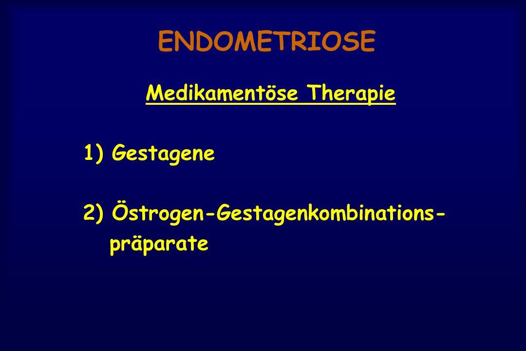 ENDOMETRIOSE Medikamentöse Therapie 1) Gestagene 2) Östrogen-Gestagenkombinations- präparate