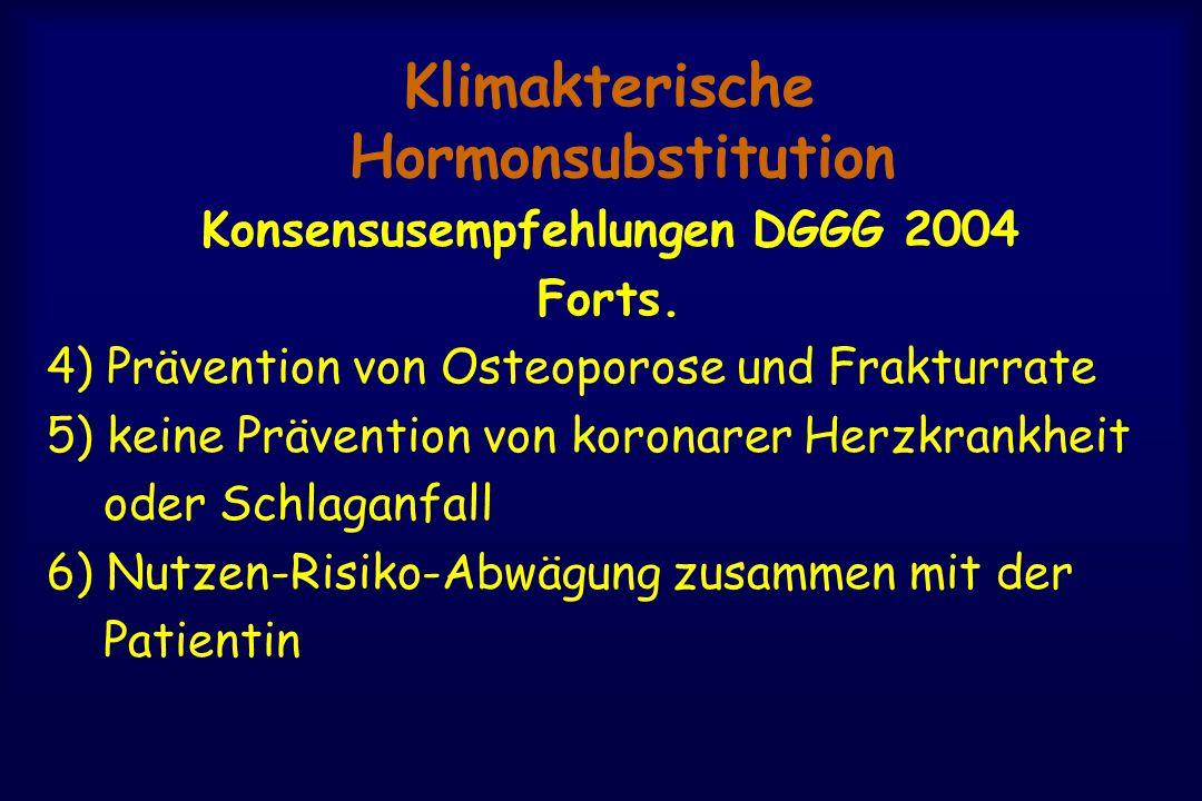 Klimakterische Hormonsubstitution Konsensusempfehlungen DGGG 2004 Forts. 4) Prävention von Osteoporose und Frakturrate 5) keine Prävention von koronar