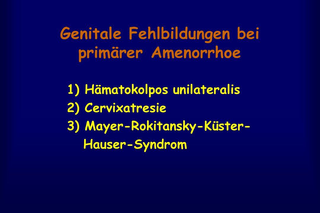 Genitale Fehlbildungen bei primärer Amenorrhoe 1) Hämatokolpos unilateralis 2) Cervixatresie 3) Mayer-Rokitansky-Küster- Hauser-Syndrom