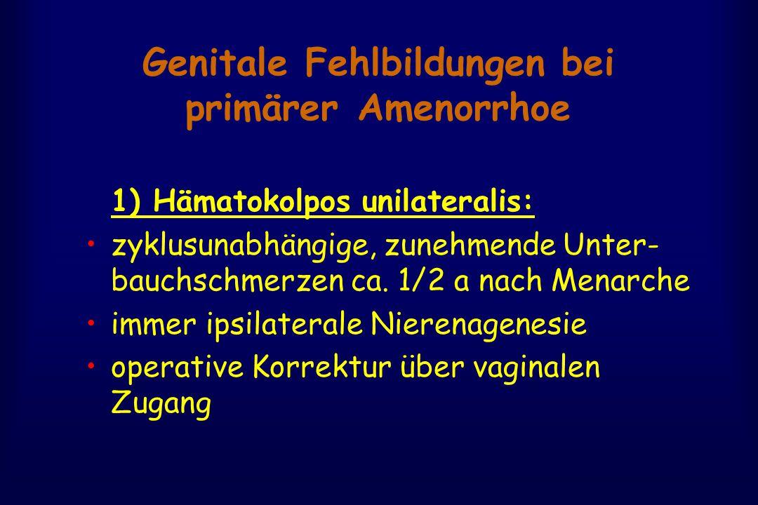 Genitale Fehlbildungen bei primärer Amenorrhoe 1) Hämatokolpos unilateralis: zyklusunabhängige, zunehmende Unter- bauchschmerzen ca. 1/2 a nach Menarc
