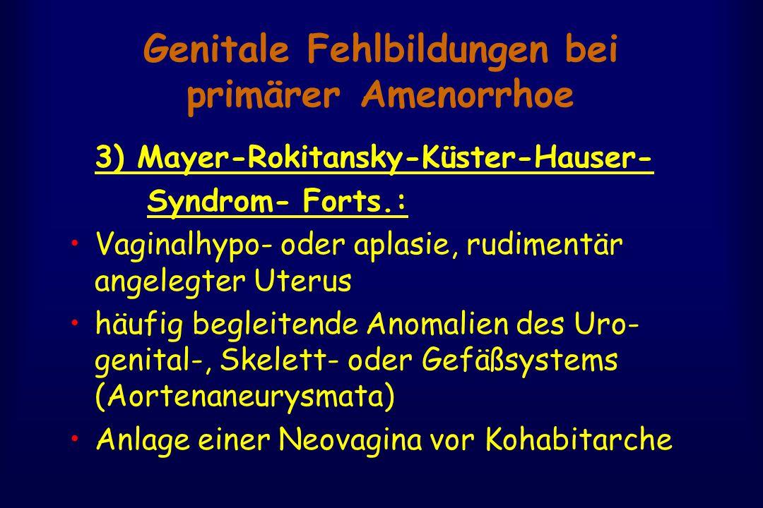 Genitale Fehlbildungen bei primärer Amenorrhoe 3) Mayer-Rokitansky-Küster-Hauser- Syndrom- Forts.: Vaginalhypo- oder aplasie, rudimentär angelegter Uterus häufig begleitende Anomalien des Uro- genital-, Skelett- oder Gefäßsystems (Aortenaneurysmata) Anlage einer Neovagina vor Kohabitarche