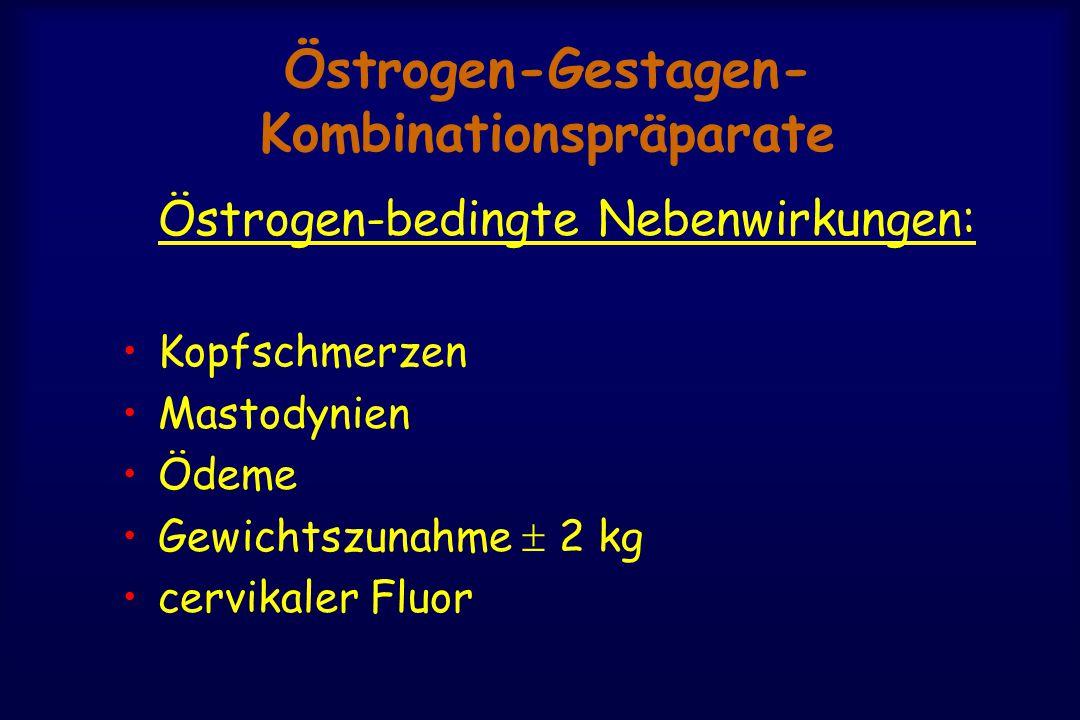 Östrogen-Gestagen- Kombinationspräparate Östrogen-bedingte Nebenwirkungen: Kopfschmerzen Mastodynien Ödeme Gewichtszunahme  2 kg cervikaler Fluor