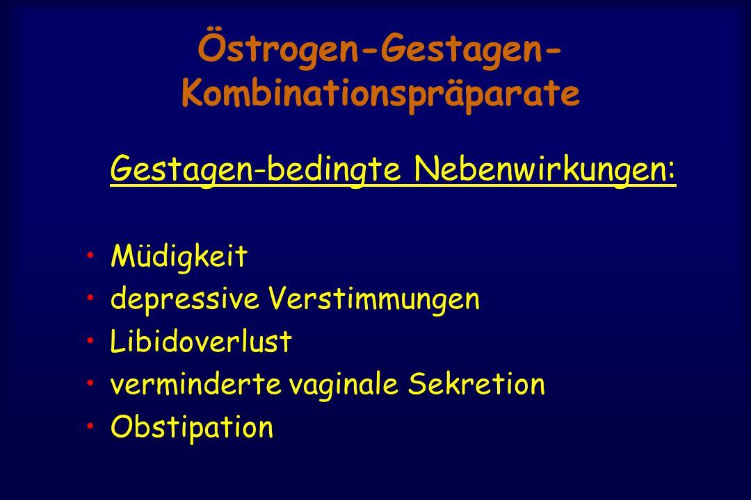 Östrogen-Gestagen- Kombinationspräparate Gestagen-bedingte Nebenwirkungen: Müdigkeit depressive Verstimmungen Libidoverlust verminderte vaginale Sekretion Obstipation