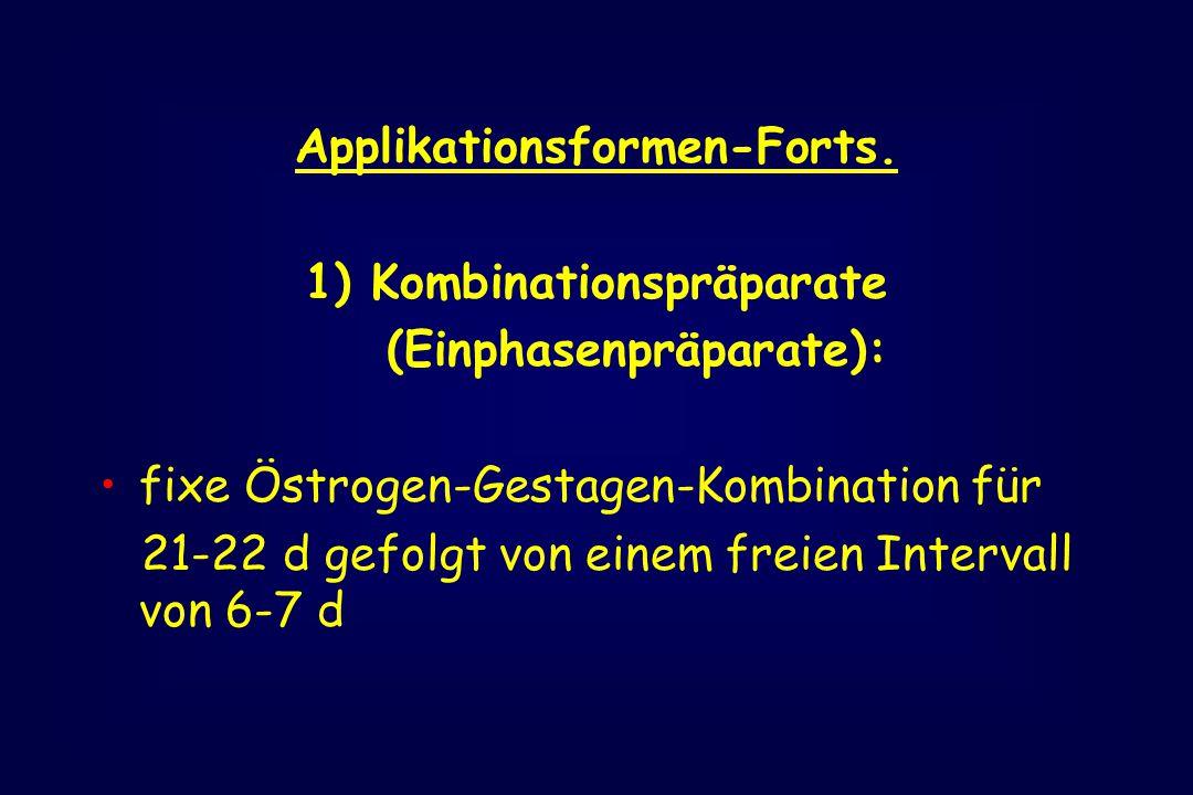 Applikationsformen-Forts. 1) Kombinationspräparate (Einphasenpräparate): fixe Östrogen-Gestagen-Kombination für 21-22 d gefolgt von einem freien Inter