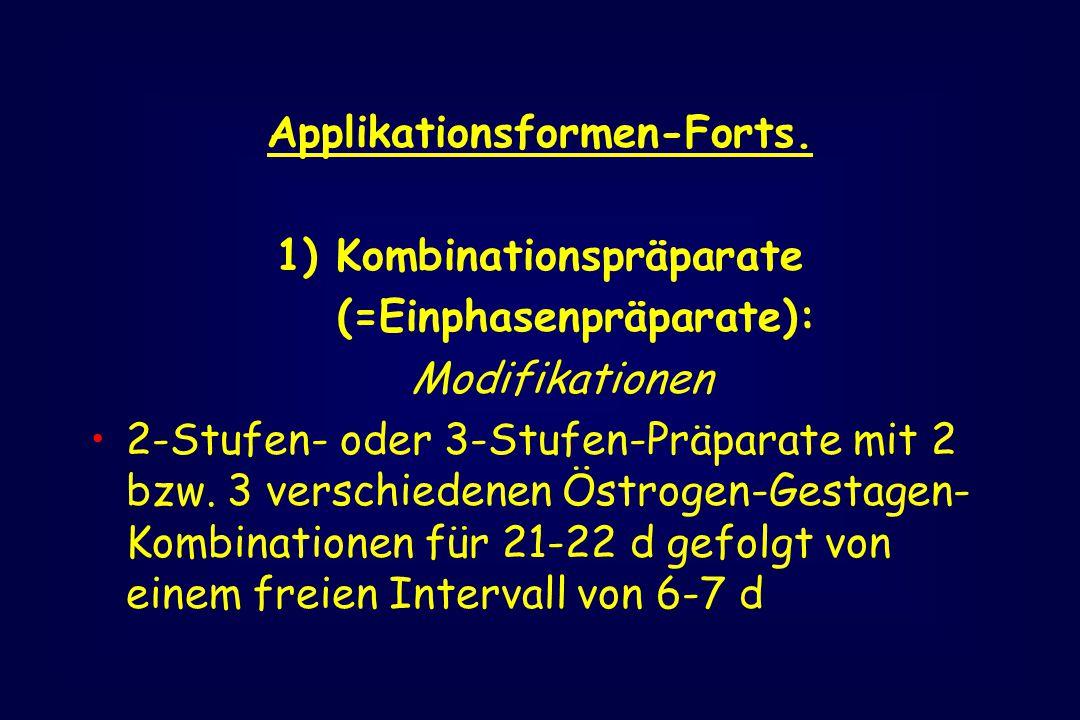 Applikationsformen-Forts. 1) Kombinationspräparate (=Einphasenpräparate): Modifikationen 2-Stufen- oder 3-Stufen-Präparate mit 2 bzw. 3 verschiedenen