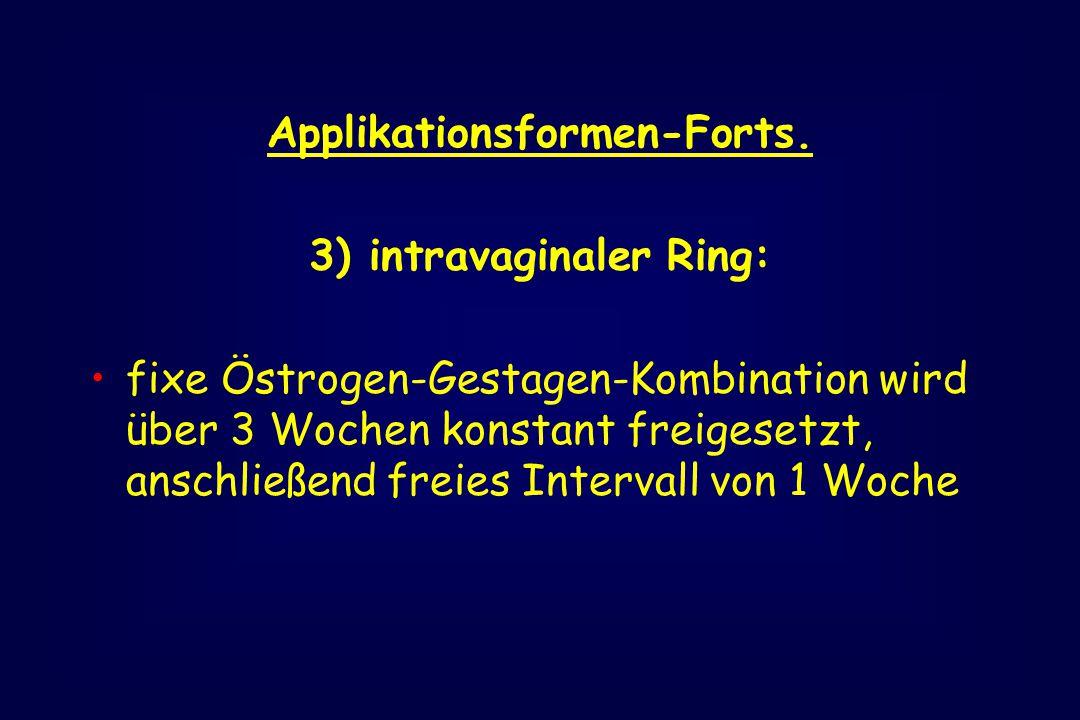 Applikationsformen-Forts. 3) intravaginaler Ring: fixe Östrogen-Gestagen-Kombination wird über 3 Wochen konstant freigesetzt, anschließend freies Inte