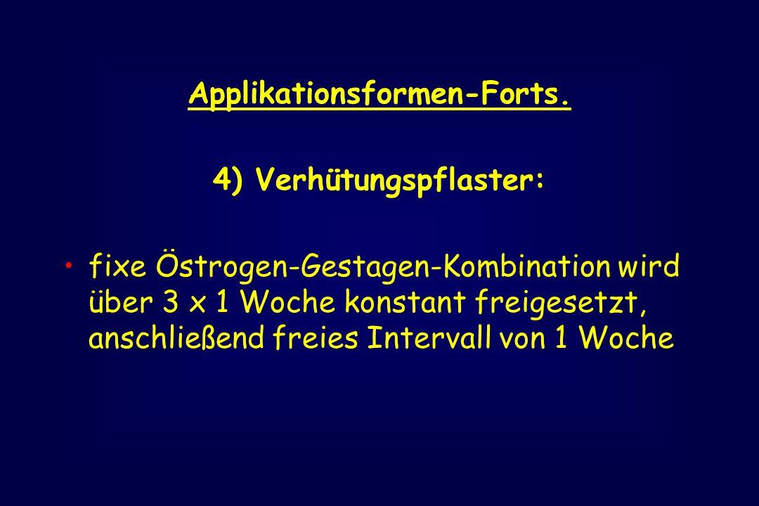Applikationsformen-Forts. 4) Verhütungspflaster: fixe Östrogen-Gestagen-Kombination wird über 3 x 1 Woche konstant freigesetzt, anschließend freies In