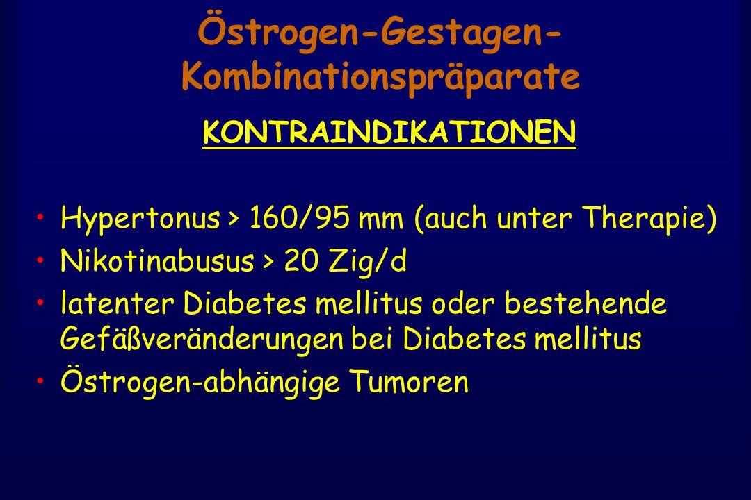 Östrogen-Gestagen- Kombinationspräparate KONTRAINDIKATIONEN Hypertonus > 160/95 mm (auch unter Therapie) Nikotinabusus > 20 Zig/d latenter Diabetes mellitus oder bestehende Gefäßveränderungen bei Diabetes mellitus Östrogen-abhängige Tumoren