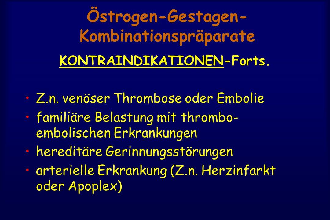 Östrogen-Gestagen- Kombinationspräparate KONTRAINDIKATIONEN-Forts. Z.n. venöser Thrombose oder Embolie familiäre Belastung mit thrombo- embolischen Er