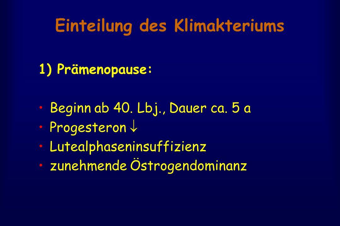 Einteilung des Klimakteriums 1) Prämenopause: Beginn ab 40. Lbj., Dauer ca. 5 a Progesteron  Lutealphaseninsuffizienz zunehmende Östrogendominanz