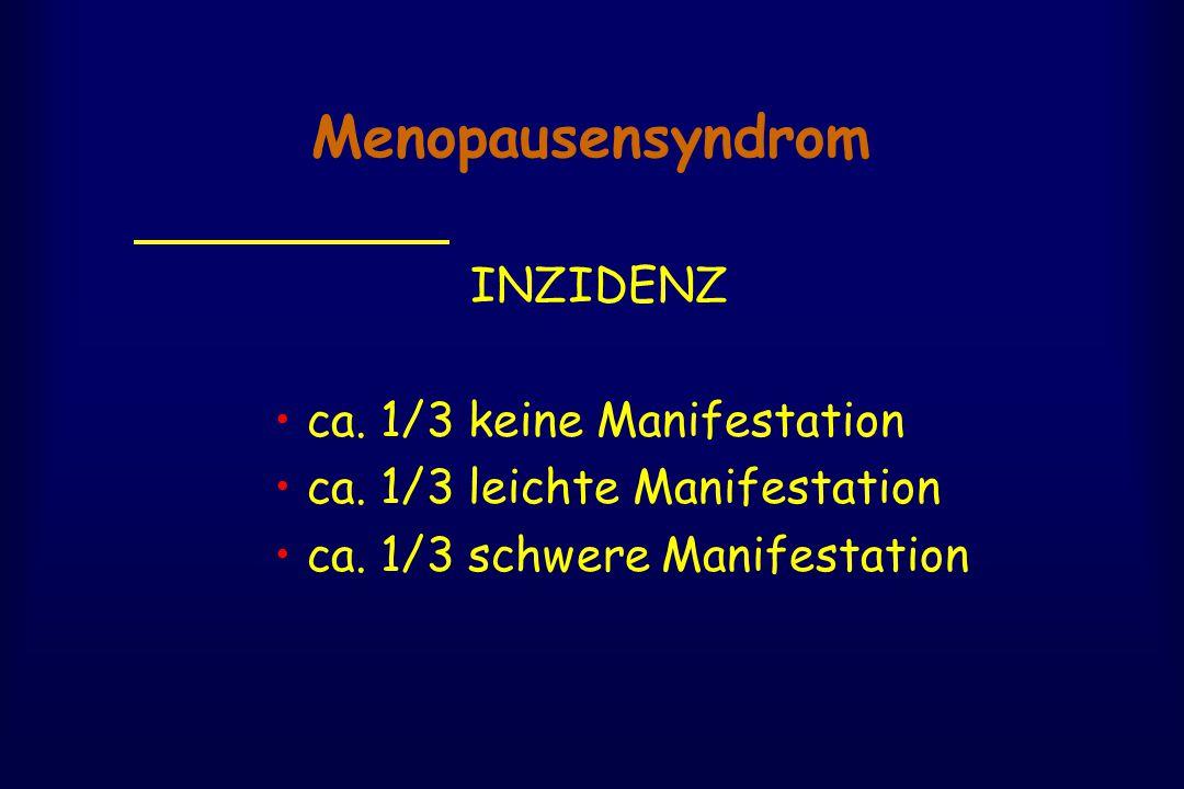 Menopausensyndrom INZIDENZ ca. 1/3 keine Manifestation ca. 1/3 leichte Manifestation ca. 1/3 schwere Manifestation
