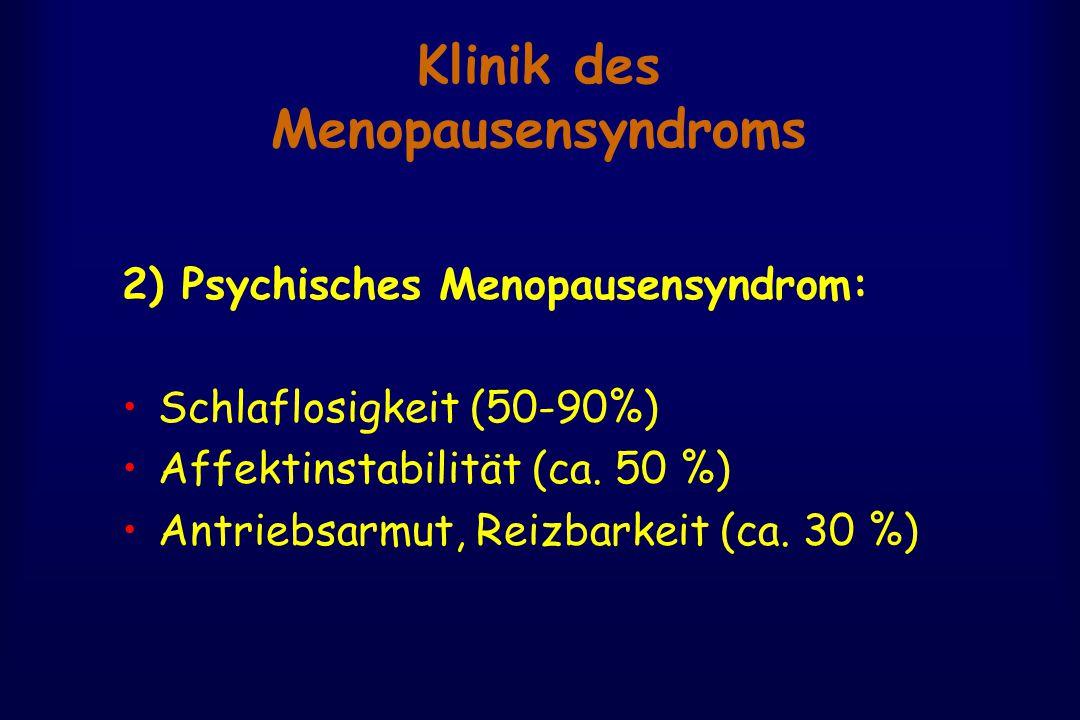 Klinik des Menopausensyndroms 2) Psychisches Menopausensyndrom: Schlaflosigkeit (50-90%) Affektinstabilität (ca. 50 %) Antriebsarmut, Reizbarkeit (ca.