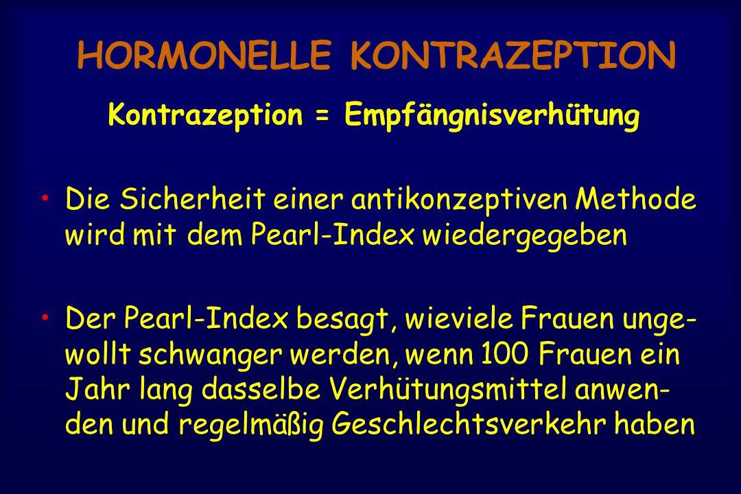 HORMONELLE KONTRAZEPTION Kontrazeption = Empfängnisverhütung Die Sicherheit einer antikonzeptiven Methode wird mit dem Pearl-Index wiedergegeben Der Pearl-Index besagt, wieviele Frauen unge- wollt schwanger werden, wenn 100 Frauen ein Jahr lang dasselbe Verhütungsmittel anwen- den und regelmäßig Geschlechtsverkehr haben