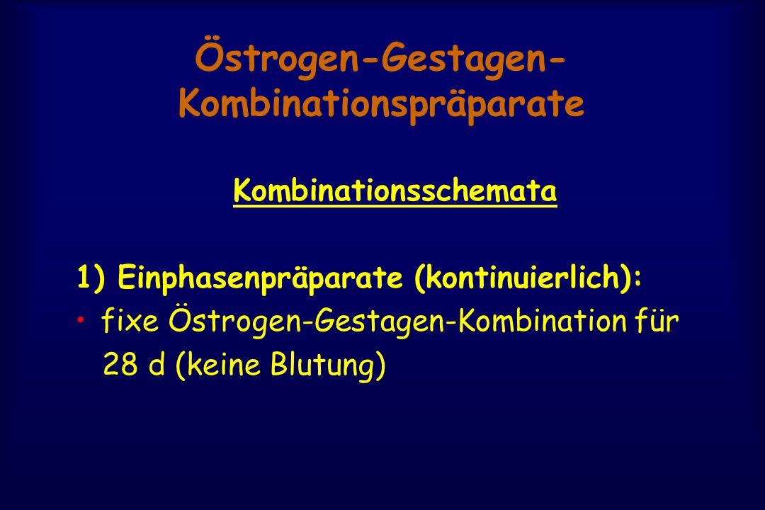 Östrogen-Gestagen- Kombinationspräparate Kombinationsschemata 1) Einphasenpräparate (kontinuierlich): fixe Östrogen-Gestagen-Kombination für 28 d (keine Blutung)