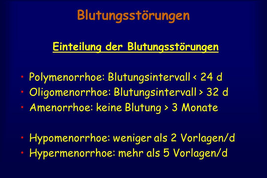 Blutungsstörungen Einteilung der Blutungsstörungen Polymenorrhoe: Blutungsintervall < 24 d Oligomenorrhoe: Blutungsintervall > 32 d Amenorrhoe: keine Blutung > 3 Monate Hypomenorrhoe: weniger als 2 Vorlagen/d Hypermenorrhoe: mehr als 5 Vorlagen/d