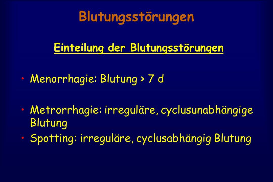 Blutungsstörungen Einteilung der Blutungsstörungen Menorrhagie: Blutung > 7 d Metrorrhagie: irreguläre, cyclusunabhängige Blutung Spotting: irreguläre, cyclusabhängig Blutung