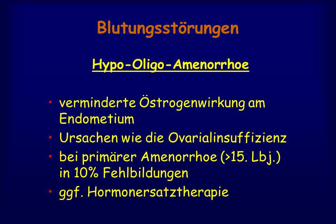 Blutungsstörungen Hypo-Oligo-Amenorrhoe verminderte Östrogenwirkung am Endometium Ursachen wie die Ovarialinsuffizienz bei primärer Amenorrhoe (>15.