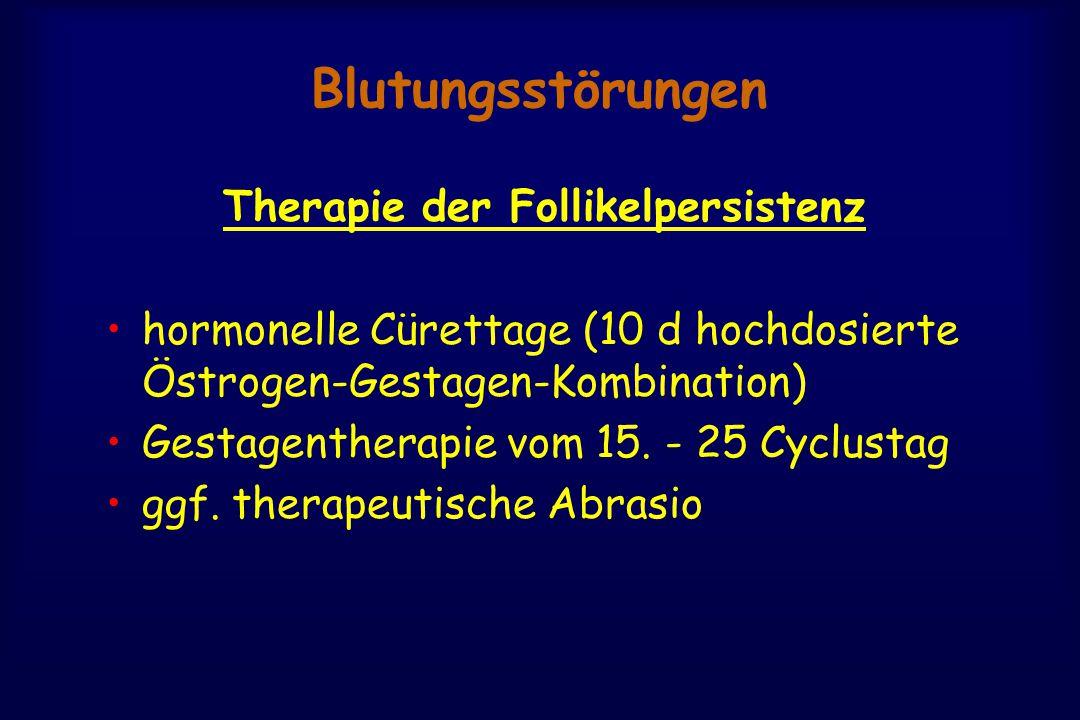 Blutungsstörungen Therapie der Follikelpersistenz hormonelle Cürettage (10 d hochdosierte Östrogen-Gestagen-Kombination) Gestagentherapie vom 15. - 25