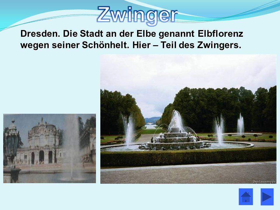Dresden. Die Stadt an der Elbe genannt Elbflorenz wegen seiner Schönhelt. Hier – Teil des Zwingers.