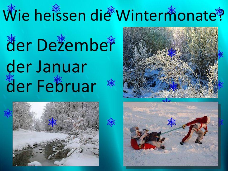 Wie heissen die Wintermonate? der Dezember der Januar der Februar