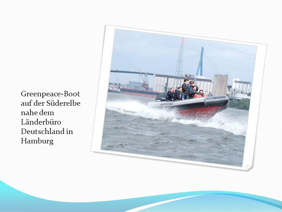 Greenpeace-Boot auf der Süderelbe nahe dem Länderbüro Deutschland in Hamburg