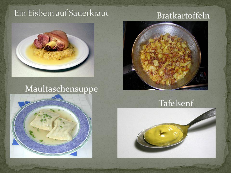 Maultaschensuppe Bratkartoffeln Tafelsenf