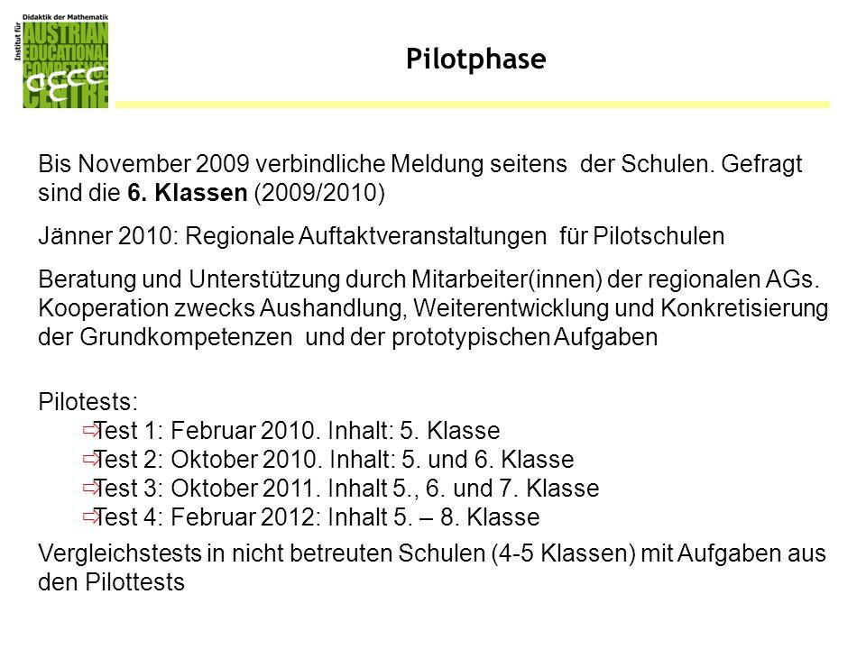 Pilotphase Bis November 2009 verbindliche Meldung seitens der Schulen. Gefragt sind die 6. Klassen (2009/2010) Beratung und Unterstützung durch Mitarb