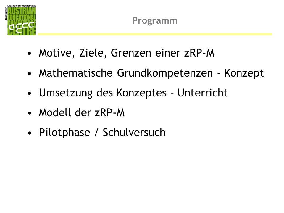 Programm Motive, Ziele, Grenzen einer zRP-M Mathematische Grundkompetenzen - Konzept Umsetzung des Konzeptes - Unterricht Modell der zRP-M Pilotphase