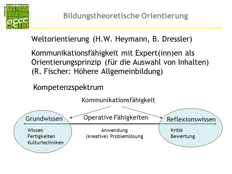 Bildungstheoretische Orientierung Weltorientierung (H.W. Heymann, B. Dressler) Kommunikationsfähigkeit mit Expert(inn)en als Orientierungsprinzip (für