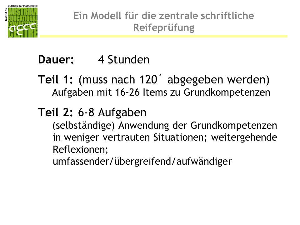 Ein Modell für die zentrale schriftliche Reifeprüfung Dauer: 4 Stunden Teil 1:(muss nach 120´ abgegeben werden) Aufgaben mit 16-26 Items zu Grundkompe