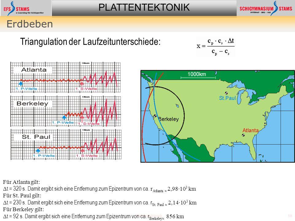 PLATTENTEKTONIK Plattentektonik58 Erdbeben Für Atlanta gilt:  t = 320 s. Damit ergibt sich eine Entfernung zum Epizentrum von ca. r Atlanta  2,98·10