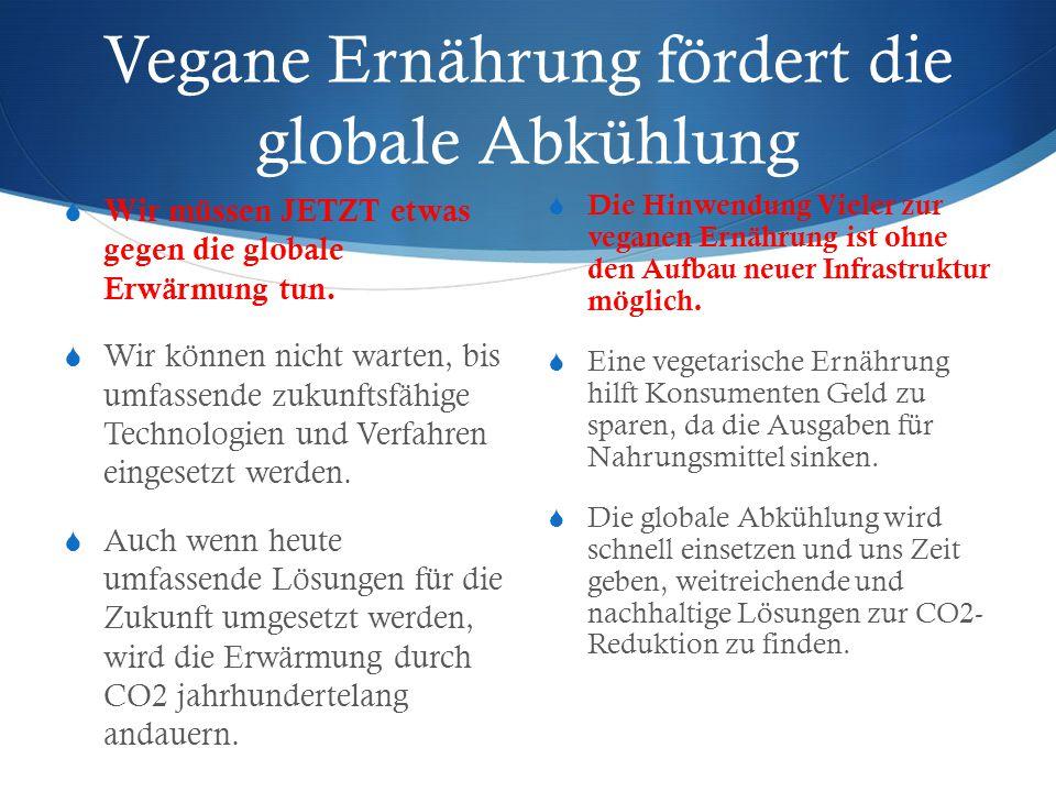 Vegane Ernährung fördert die globale Abkühlung  Wir müssen JETZT etwas gegen die globale Erwärmung tun.  Wir können nicht warten, bis umfassende zuk