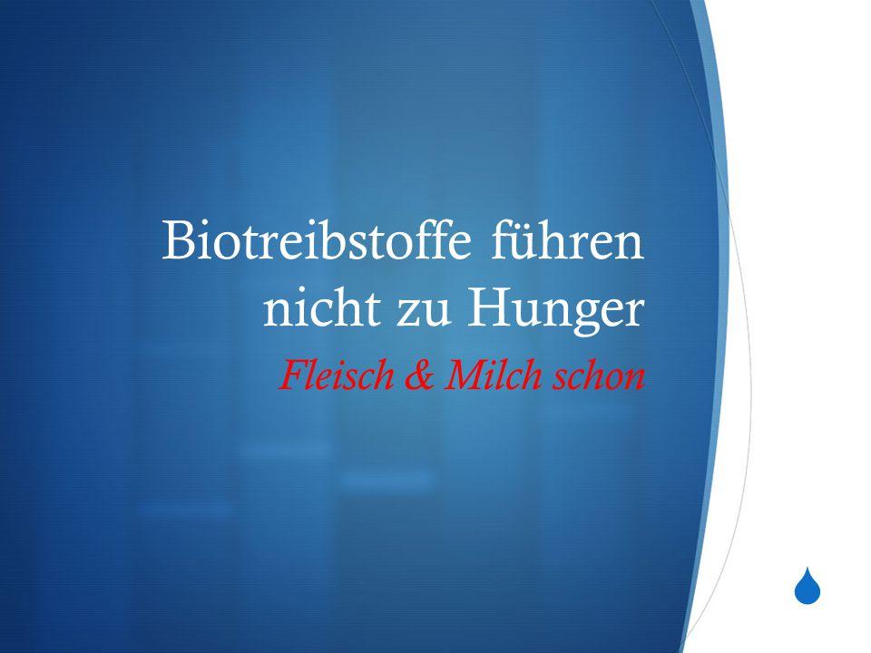  Biotreibstoffe führen nicht zu Hunger Fleisch & Milch schon