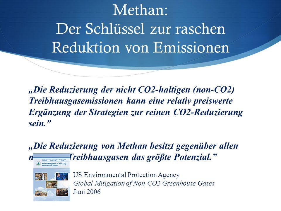 """""""Die Reduzierung der nicht CO2-haltigen (non-CO2) Treibhausgasemissionen kann eine relativ preiswerte Ergänzung der Strategien zur reinen CO2-Reduzierung sein. """"Die Reduzierung von Methan besitzt gegenüber allen non-CO2-Treibhausgasen das größte Potenzial. Methan: Der Schlüssel zur raschen Reduktion von Emissionen US Environmental Protection Agency Global Mitigation of Non-CO2 Greenhouse Gases Juni 2006"""