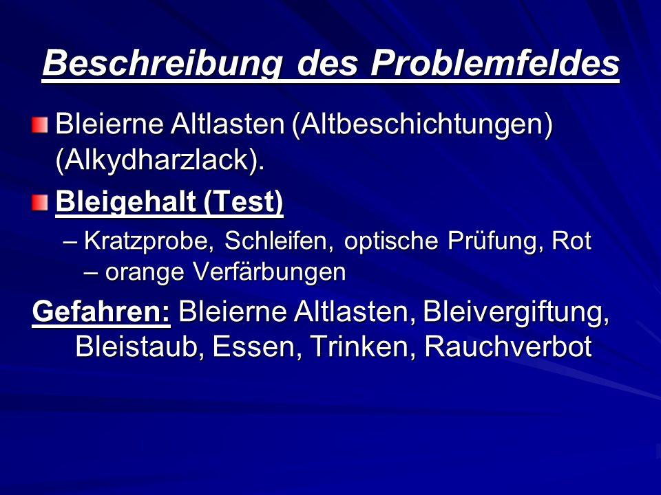 Beschreibung des Problemfeldes Bleierne Altlasten (Altbeschichtungen) (Alkydharzlack). Bleigehalt (Test) –Kratzprobe, Schleifen, optische Prüfung, Rot
