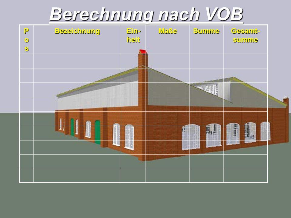 Berechnung nach VOB PosPosPosPosBezeichnung Ein- heit MaßeSumme Gesamt- summe