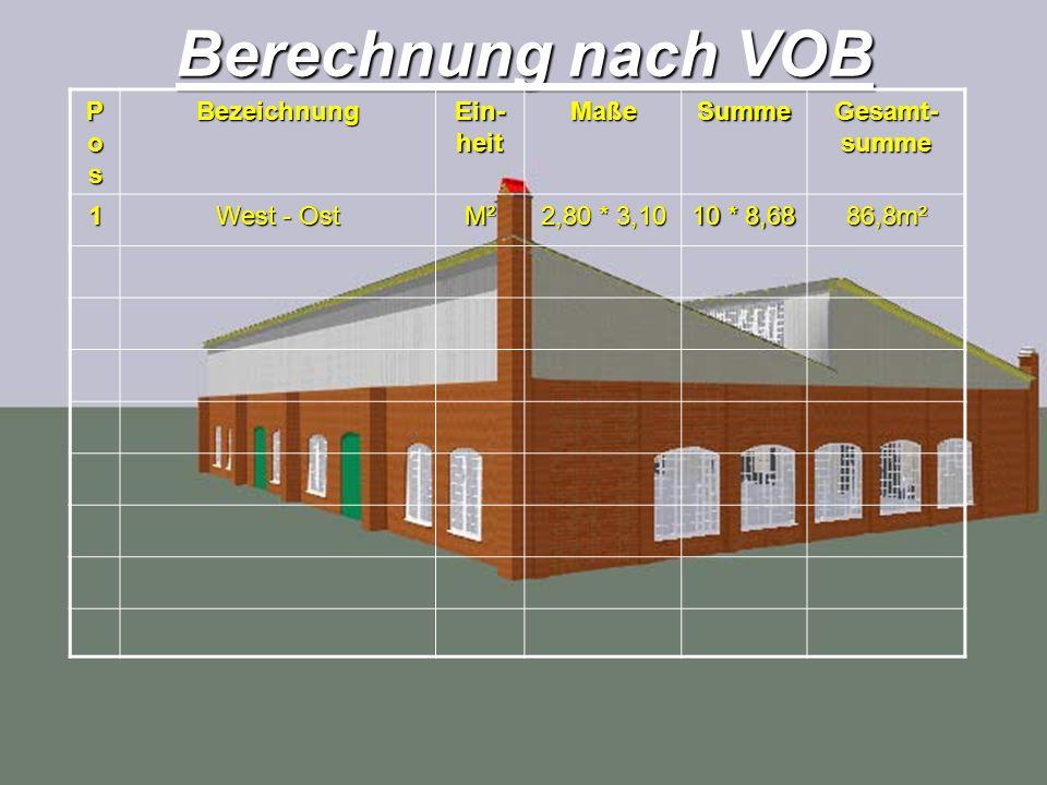 Berechnung nach VOB PosPosPosPosBezeichnung Ein- heit MaßeSumme Gesamt- summe 1 West - Ost M² 2,80 * 3,10 10 * 8,68 86,8m²