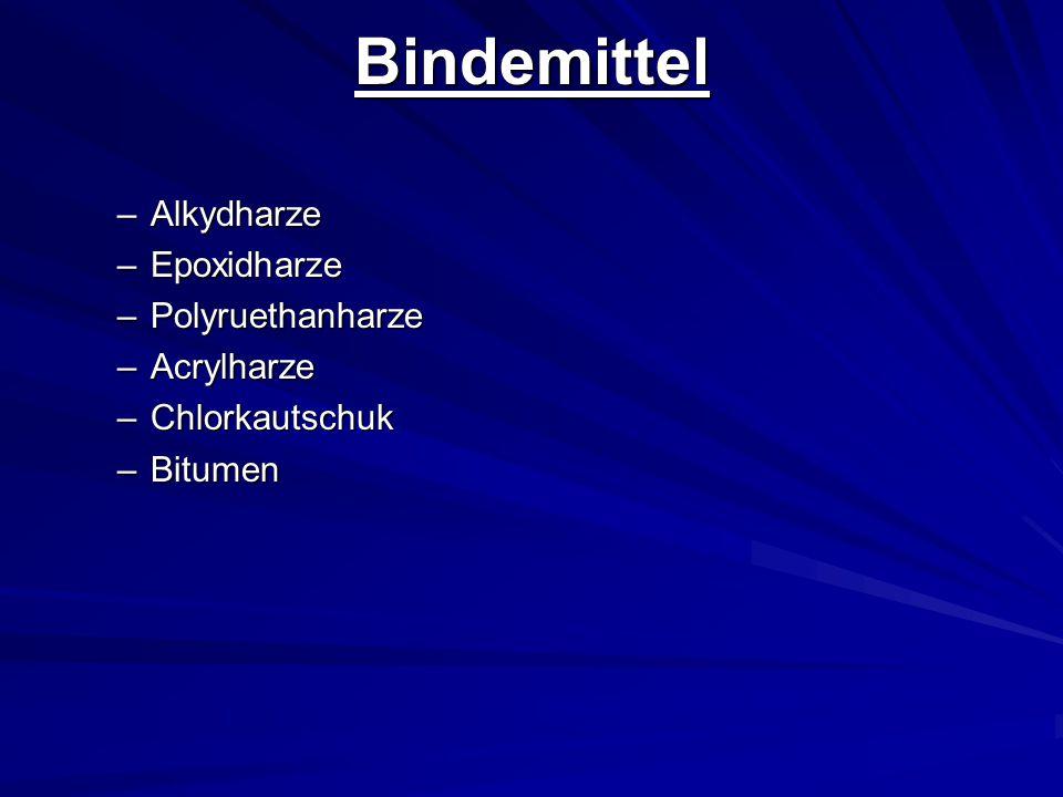 Bindemittel –Alkydharze –Epoxidharze –Polyruethanharze –Acrylharze –Chlorkautschuk –Bitumen