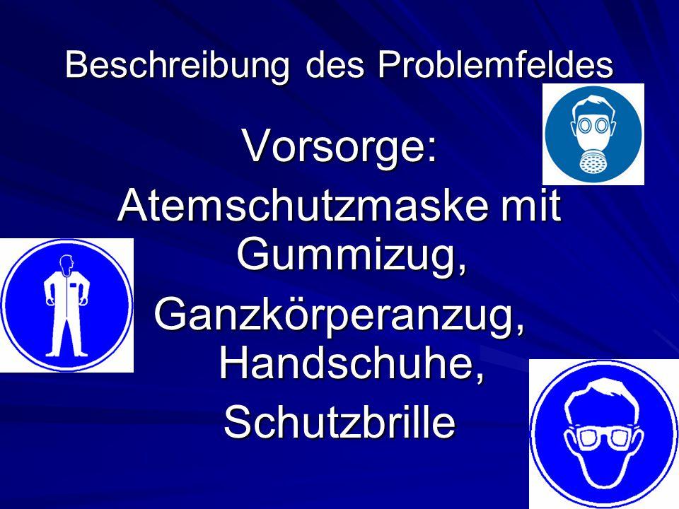 Beschreibung des Problemfeldes Vorsorge: Atemschutzmaske mit Gummizug, Ganzkörperanzug, Handschuhe, Schutzbrille