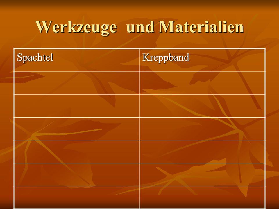 Werkzeuge und Materialien SpachtelKreppband